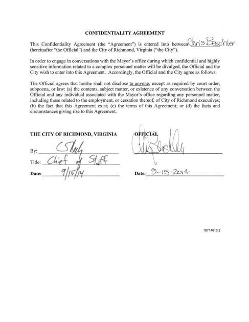Confidentiality Agreement Chris Beschler City Of Richmond