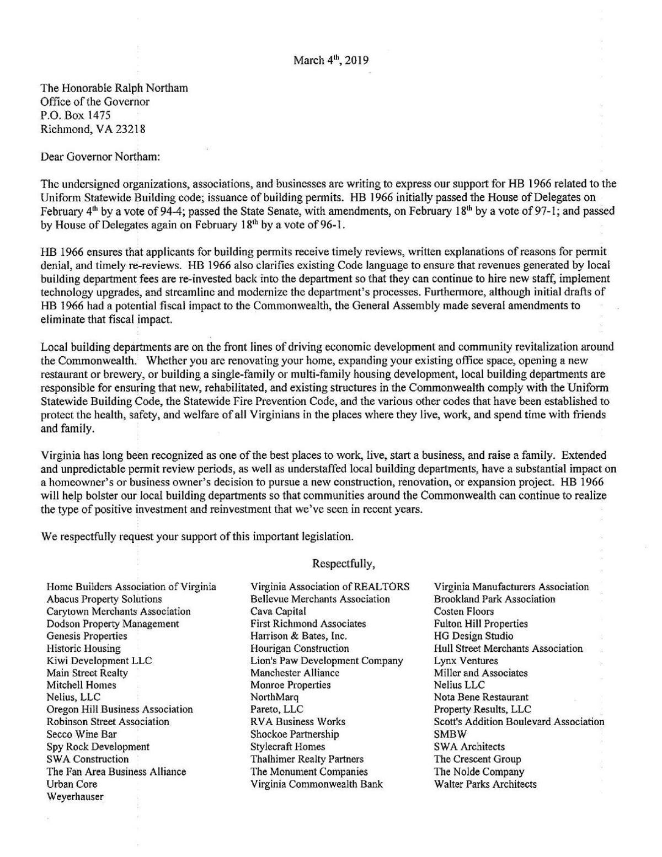 Coalition letter to Gov  Ralph Northam | | richmond com
