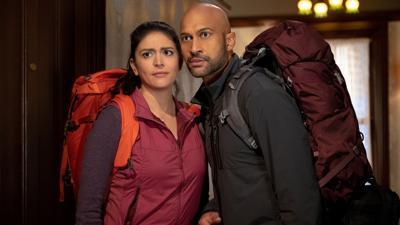"Cecily Strong, left, and Keegan-Michael Key in"" Schmigadoon!"