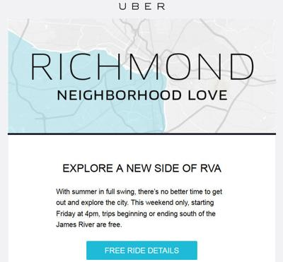 Free Uber rides to and from south of the James River this weekend