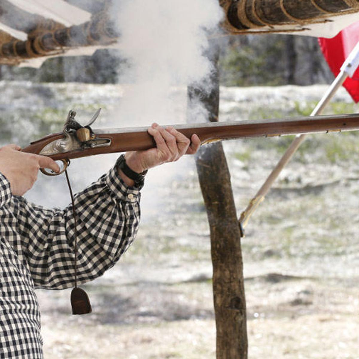 Visitors can shoot replicas of 18th-century muskets at