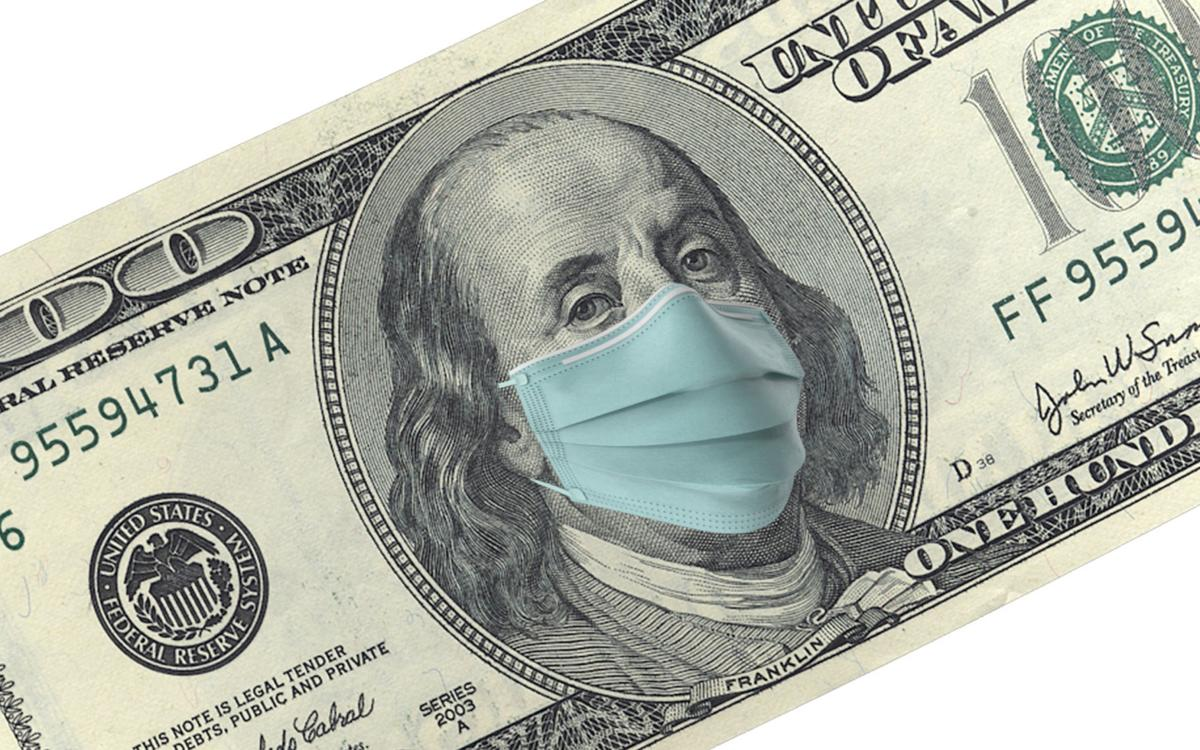 American One Hundred Dollar Bill with Mask Protection For Coronavirus on Economy Against White Background