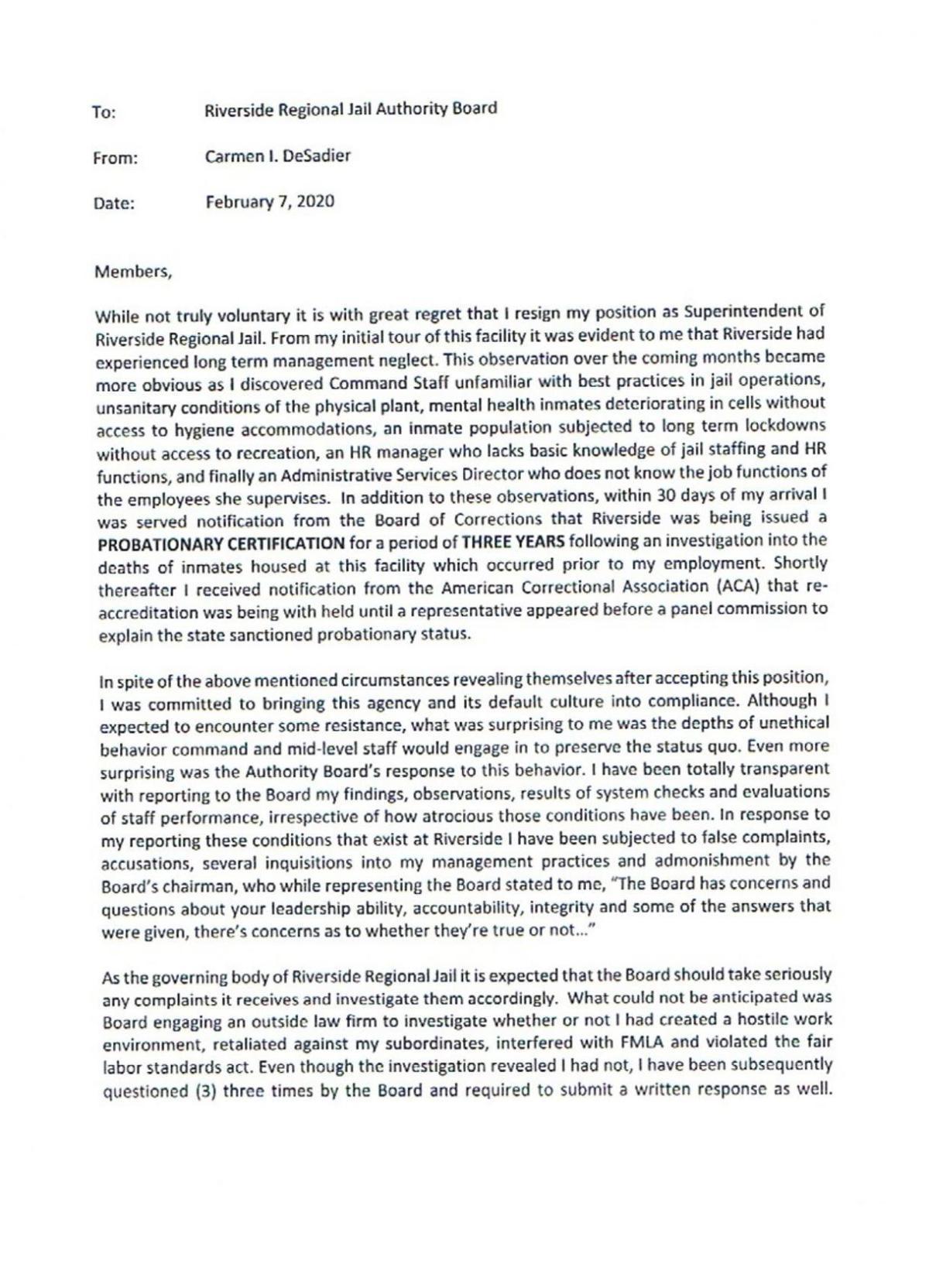 Carmen DeSadier resignation letter