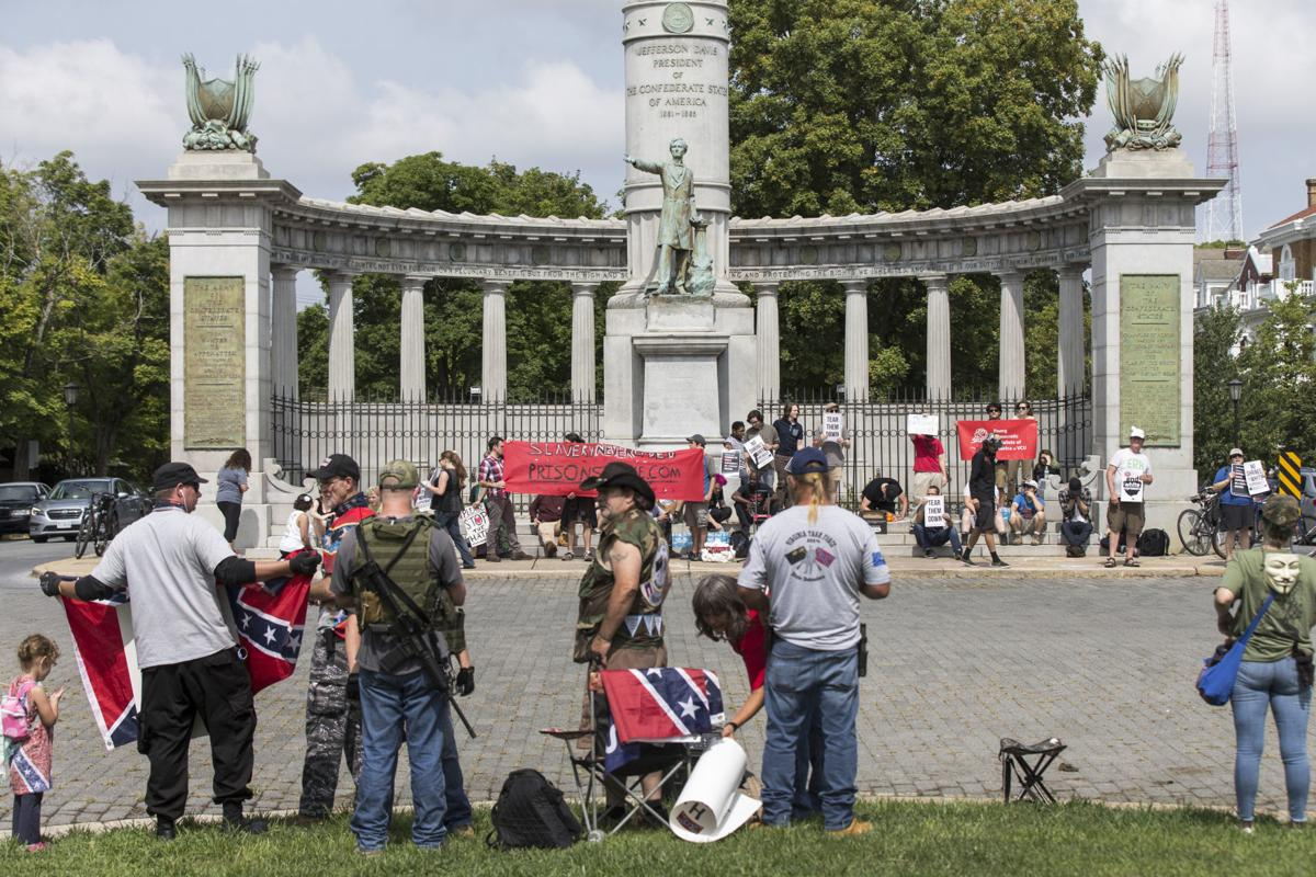 A rally to Protect The President Jefferson Davis Monument