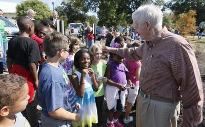 Holton helps opens rain garden at his namesake elementary school