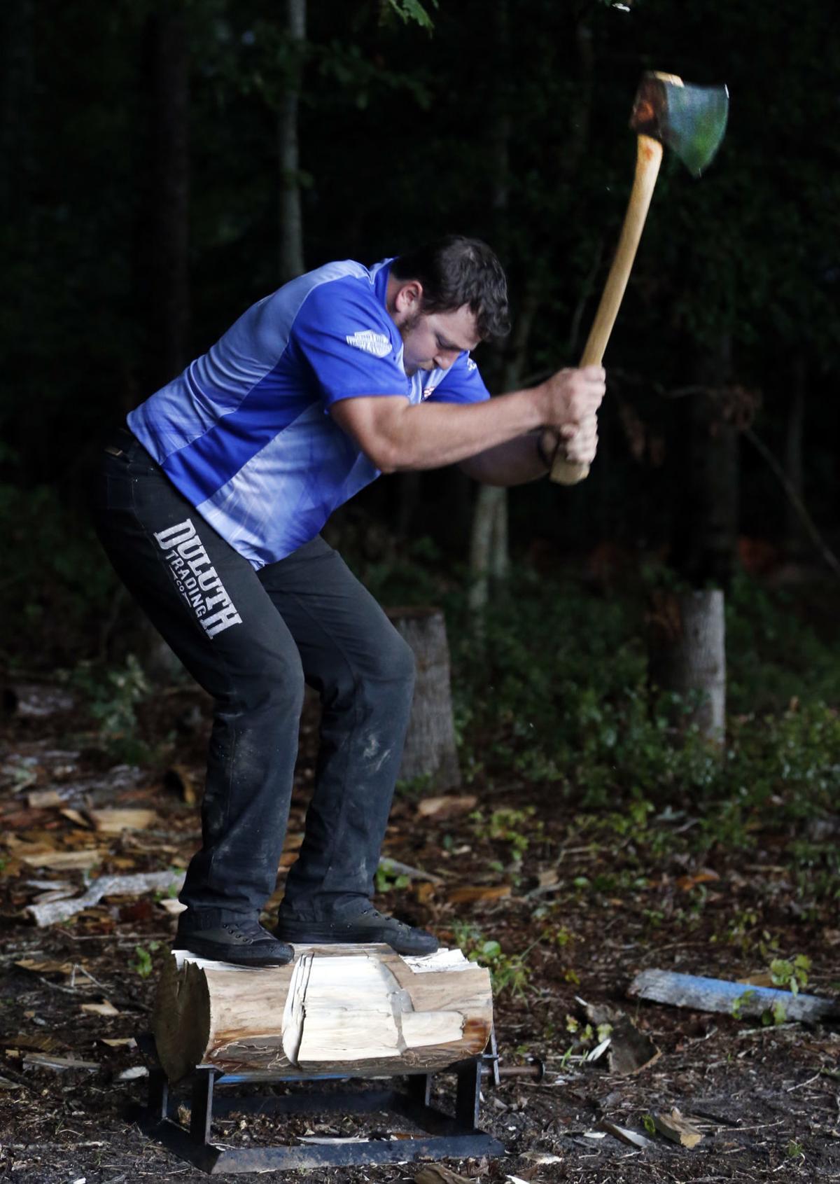 Andrew Sergent swings his axe