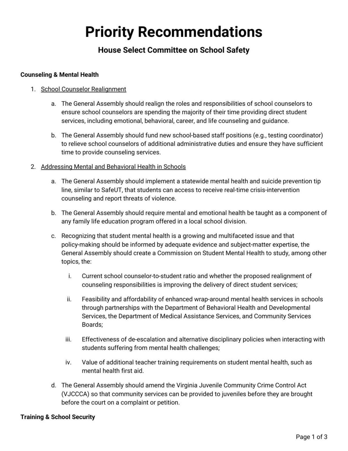 School Safety Committee Recommendations