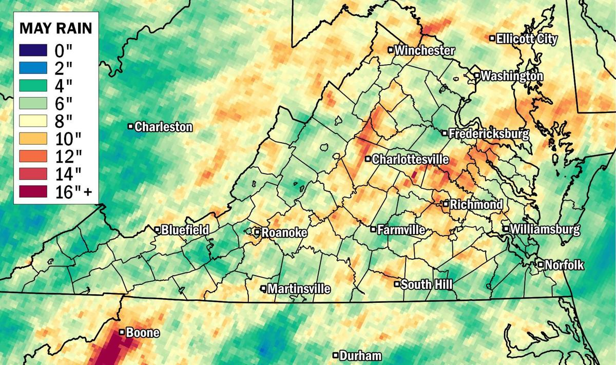 Map Which Parts Of Virginia Saw The Most Rain During May Weather
