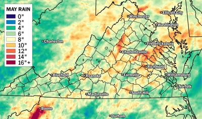 Map: Which parts of Virginia saw the most rain during May | Weather ...