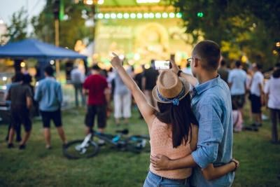 Couple making selfie on a music festival