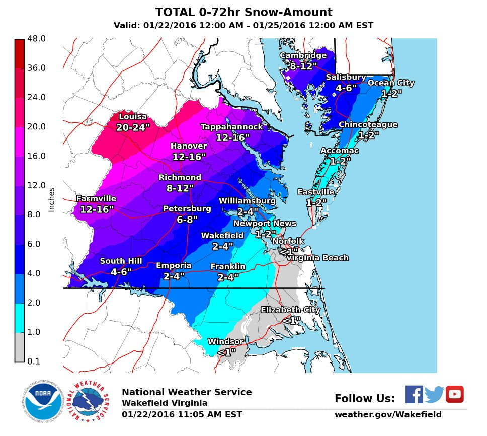 Weather Service Says 7 To 15 Inches Of Snow Forecast For Richmond