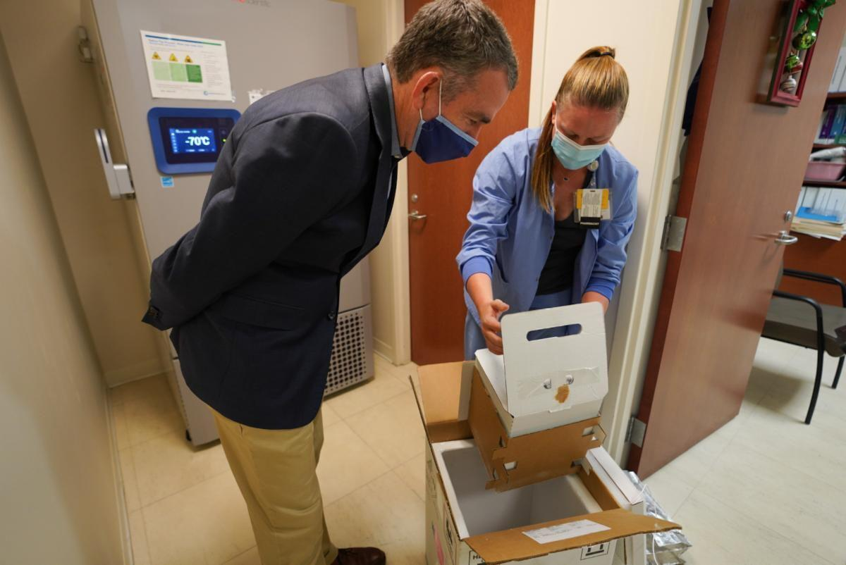 Governor and Bon Secours vaccine arrival