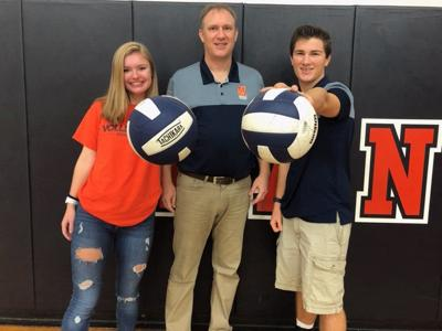 Maggie, Charlie and Luke Krausse of Manchester volleyball