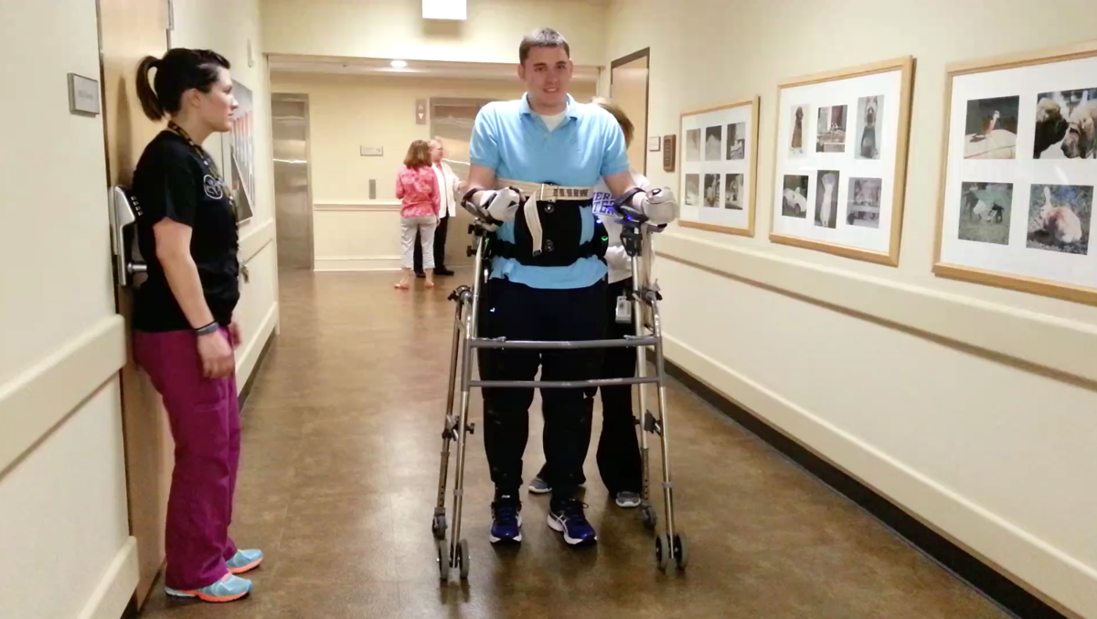 Cole Sydnor tries out an exoskeleton