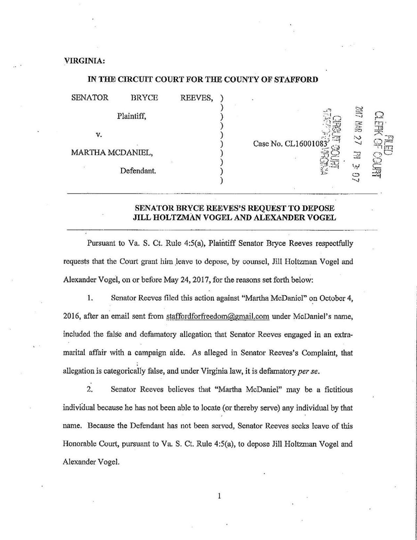 Filings in Bryce Reeves lawsuit