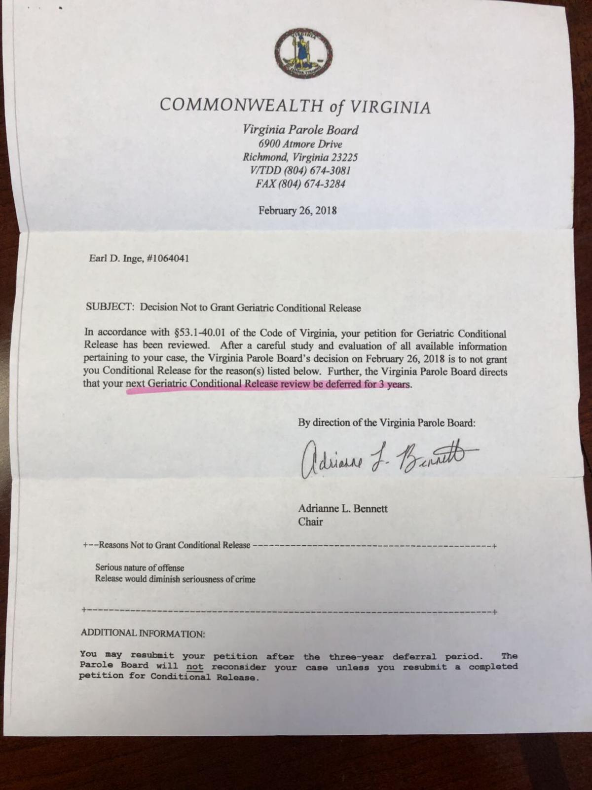 Parole board letter regarding Earl David Inge