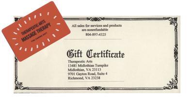 Therapeutic massage gift certificates