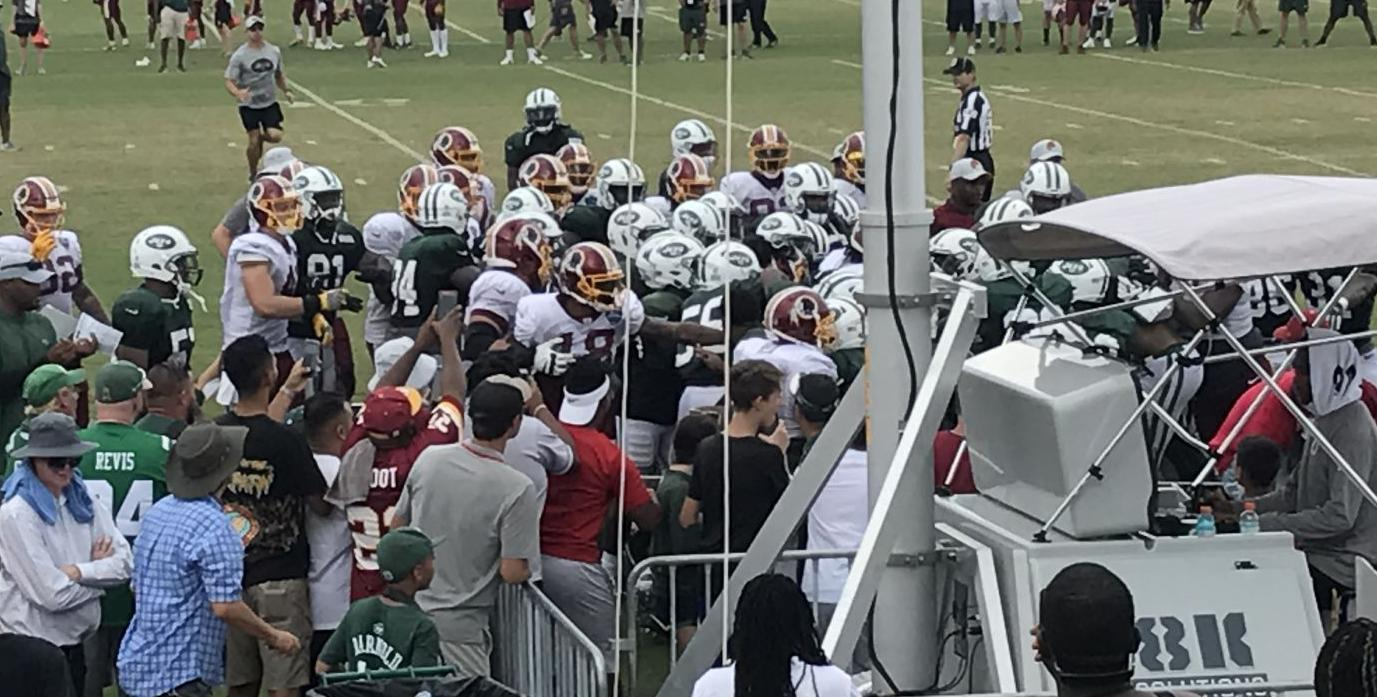 Redskins Jets Practice Turns Ugly With Fights On The Field In The