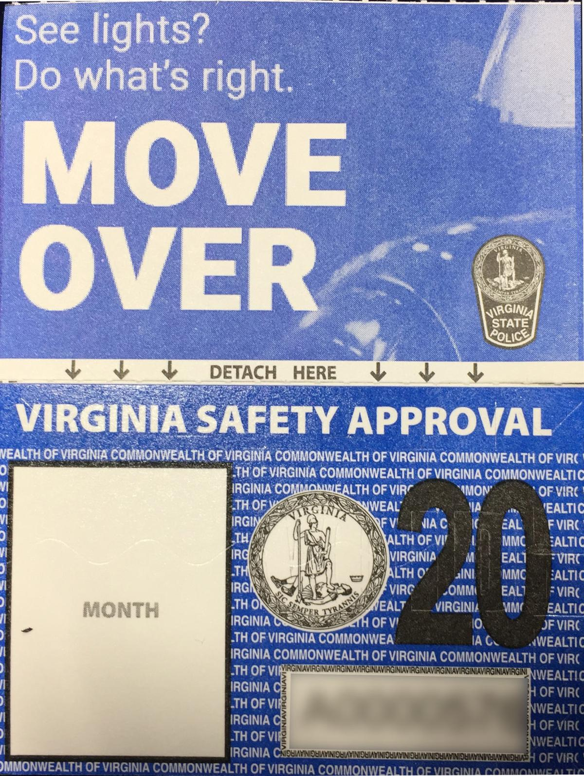 "Photo of ""Move Over"" safety message with Virgina's new vehicle safety inspection stickers"