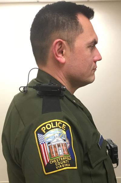 Chesterfield police officer displays a body camera