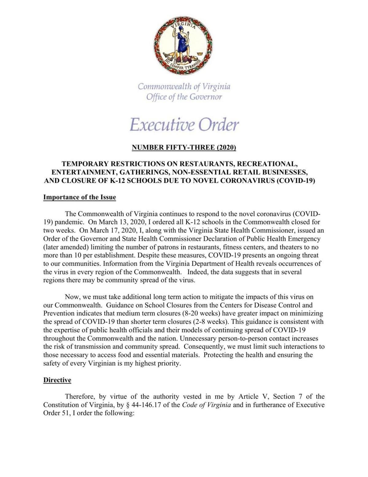 Executive Order 53: Temporary restrictions for Virginia businesses due to coronavirus