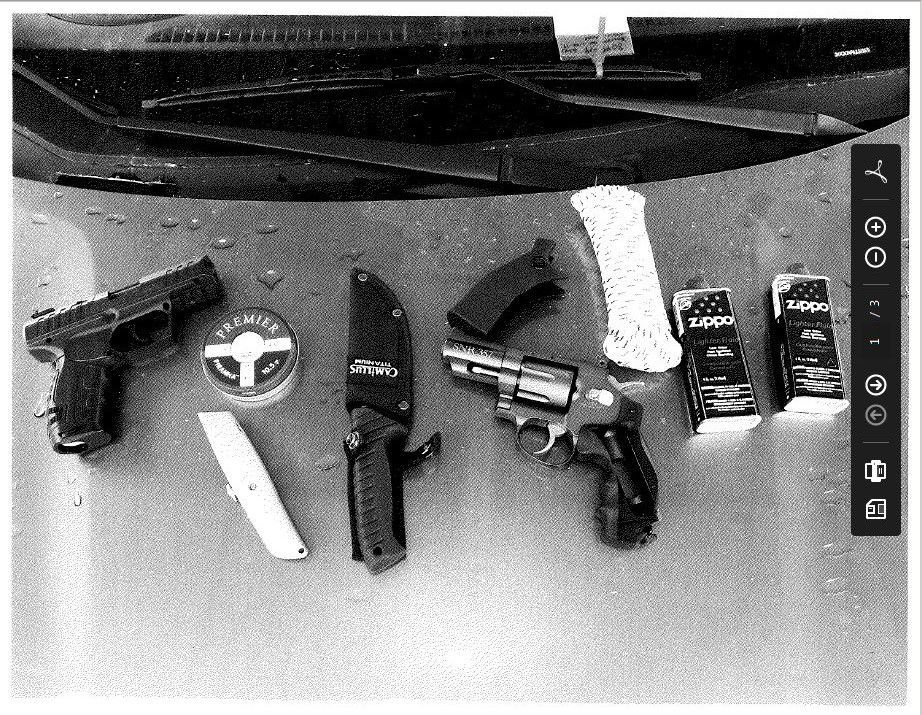 Trial evidence photo of items found in Michael Moore's stolen car
