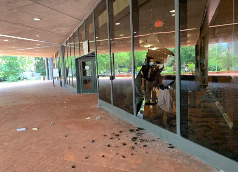 Courthouse window shattered during protest