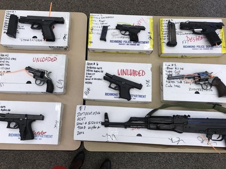 Some of the 130 illegal guns seized in Richmond in 2017 initiative to reduce crime had been reported stolen