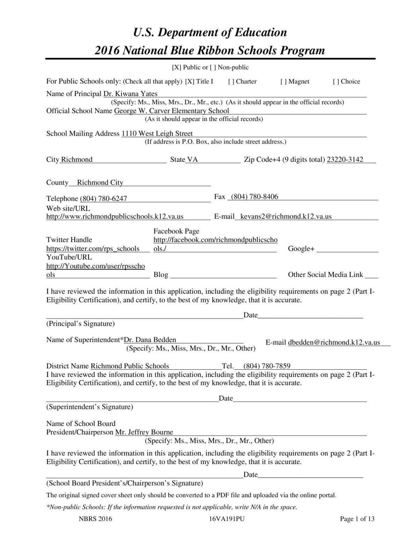 Carver Blue Ribbon Application | | richmond com