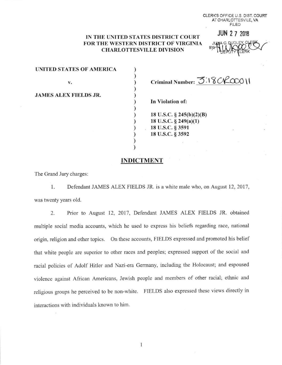 PDF: James Alex Fields Jr. indictment | | richmond.com