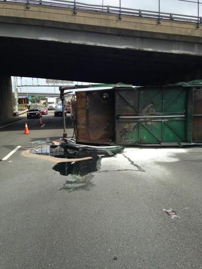 Overturned truck on I-95 south cleared