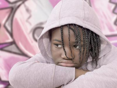 girl in pink hoodie