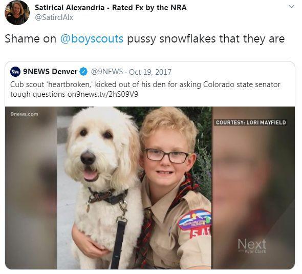 Twitter post on Boy Scouts