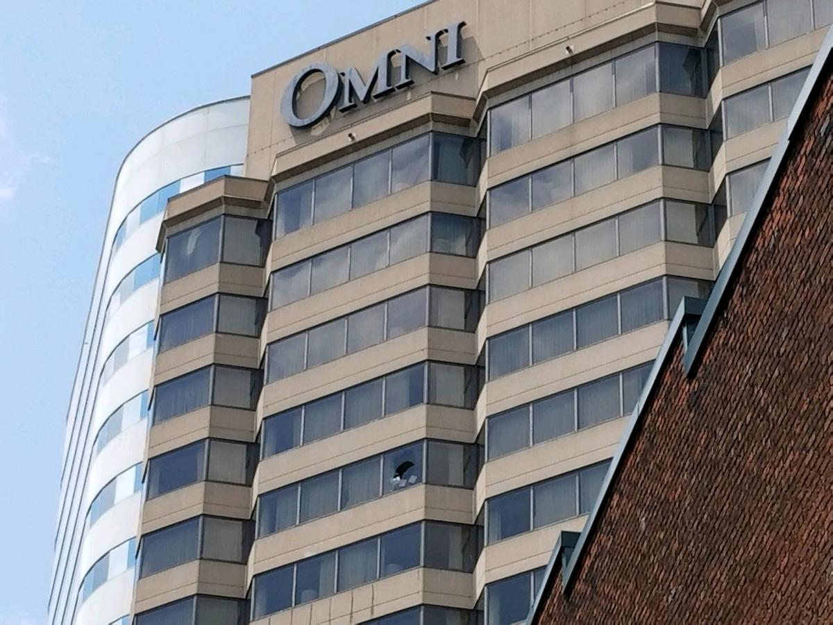 A Broken Out Window Can Be Seen On The 15th Floor Of Omni Richmond Hotel Man At Barricaded Himself In Room For Several Hours Tuesday