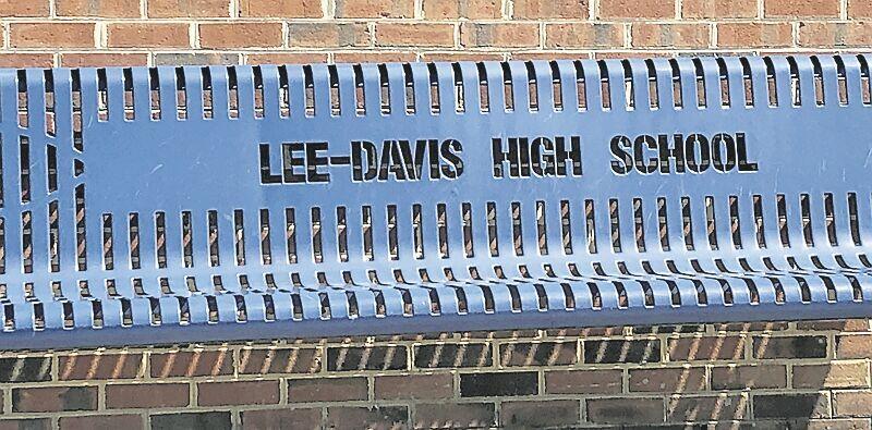 Bench in front of Lee-Davis High School