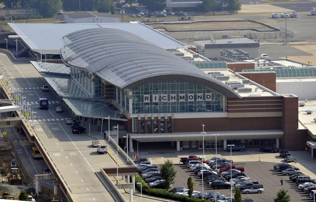 AERIAL view of the Richmond International Airport terminal.