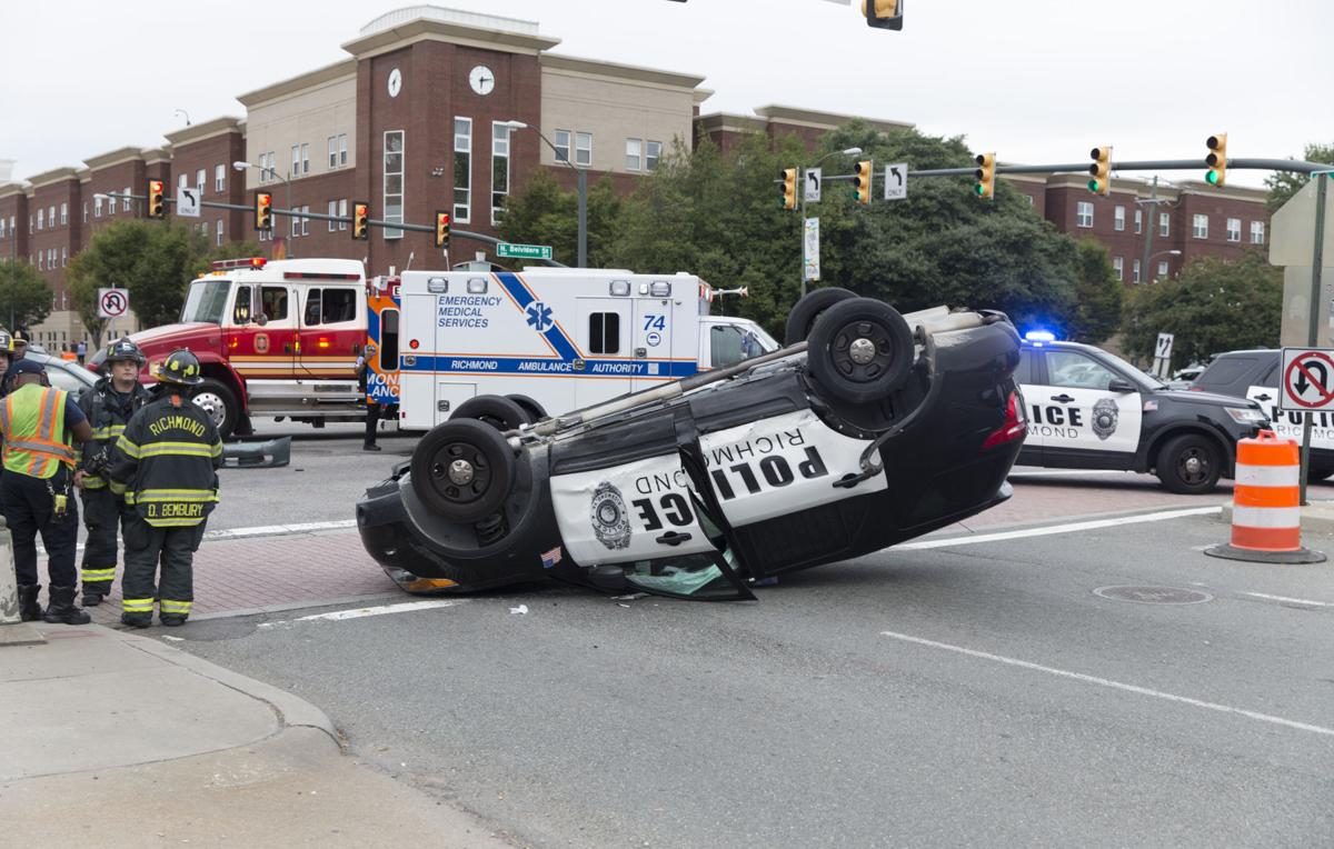 Police car flipped in crash in downtown Richmond | City of