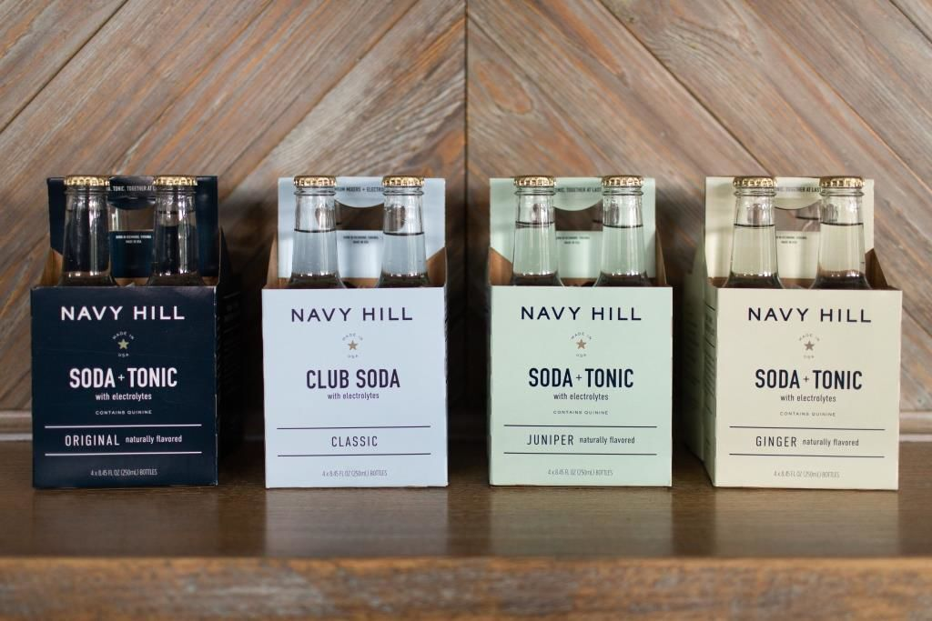 Packages of Navy Hill Soda + Tonic