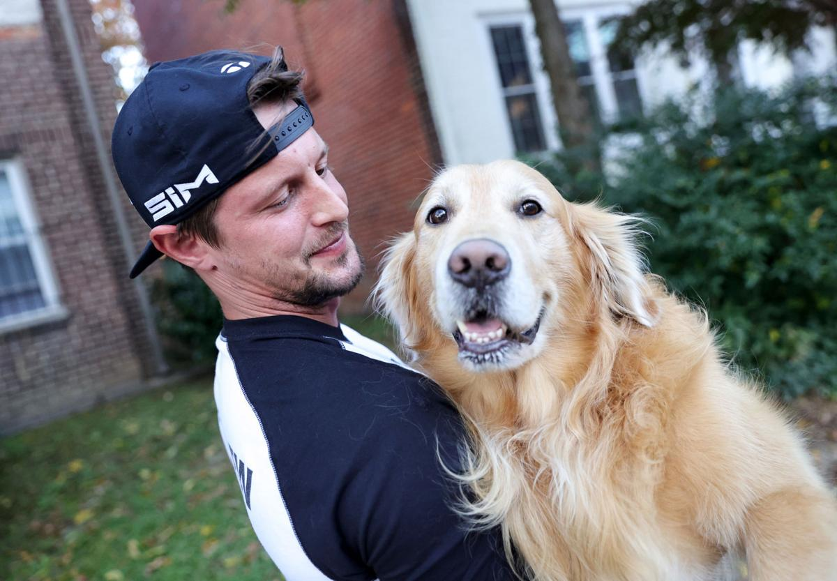 Nick Kime and his dog, Riley
