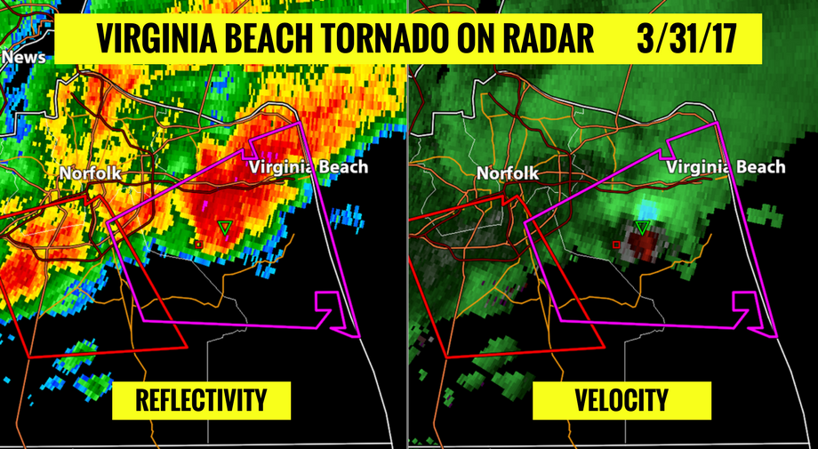 Virginia Beach tornado on radar