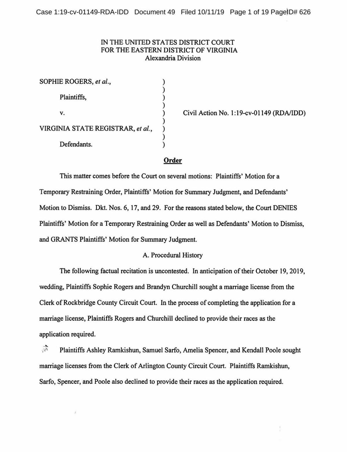 Ruling in lawsuit on race question