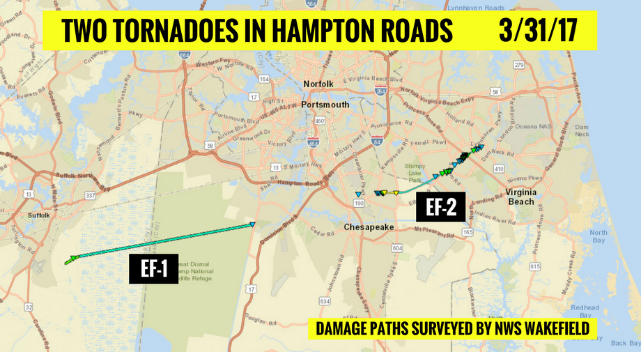 Two tornadoes in Hampton Roads on March 31