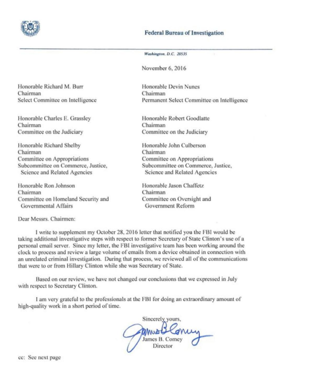 Read FBI Director James Comey's letter to Congress | | richmond.com