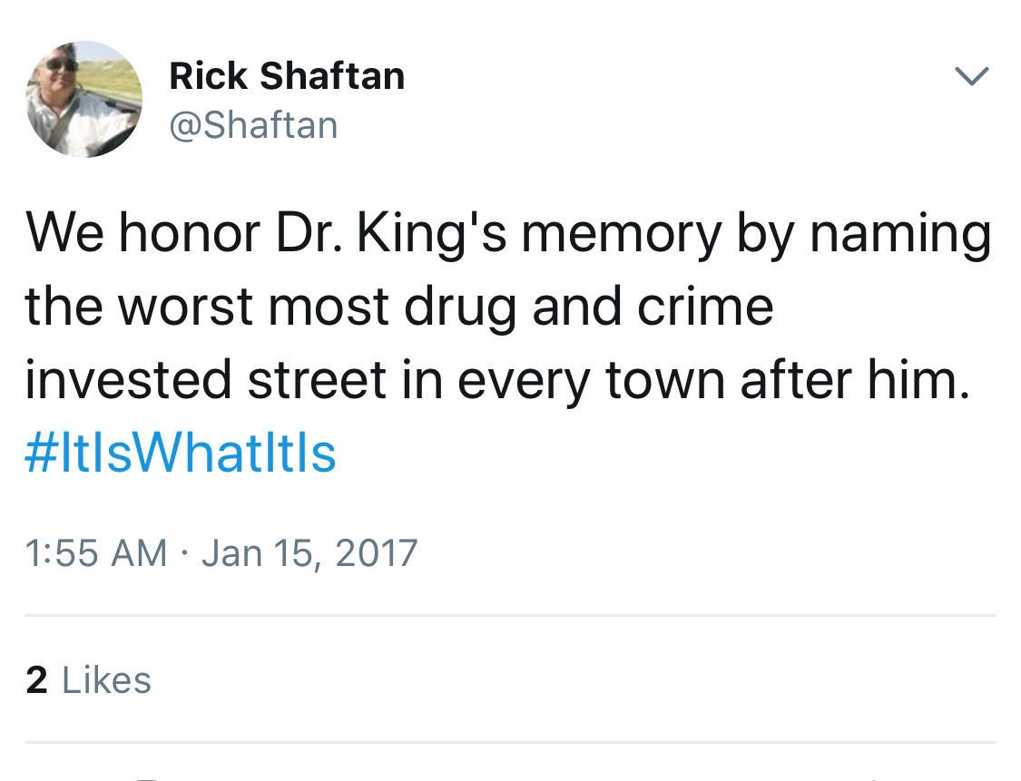 Tweet posted by Rick Shafton