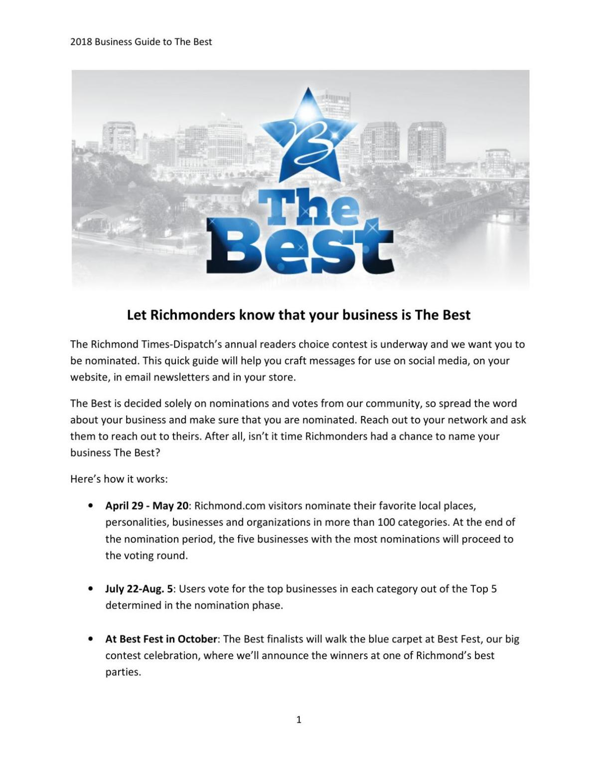 Business promotions guide to The Best