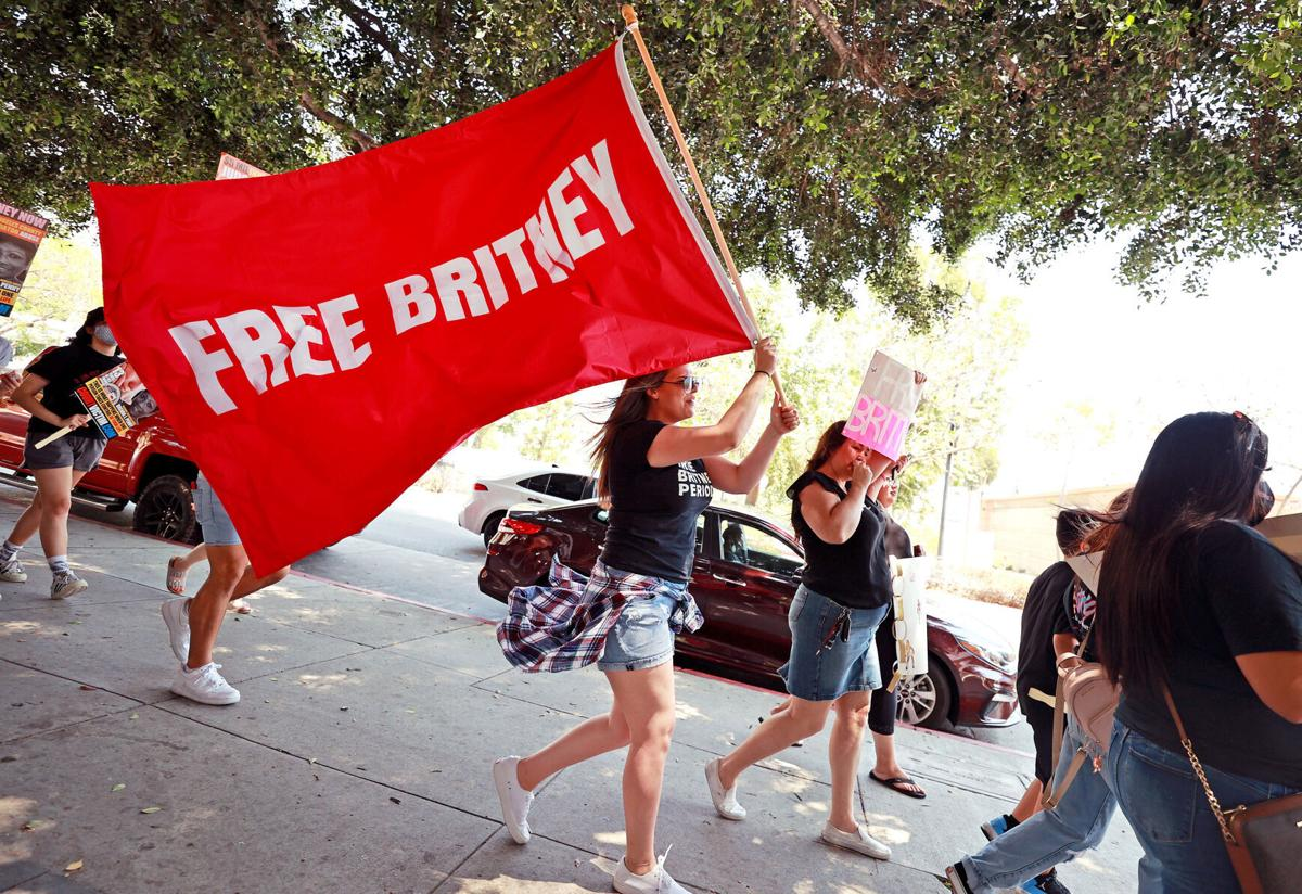 Protesters attend a# FreeBritney Rally at Stanley Mosk Courthouse on Wednesday, July 14, 2021, in Los Angeles.