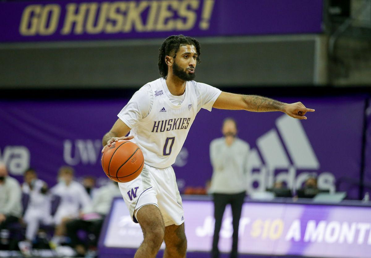 The University of Washington men's basketball team plays the University of Montana at Alaska Airlines Arena in Seattle on December 16, 2020.