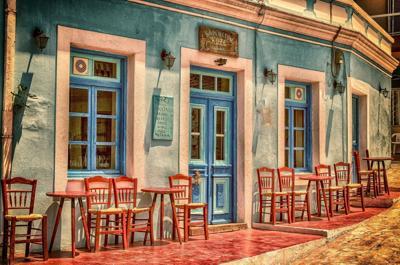 empty outdoor cafe