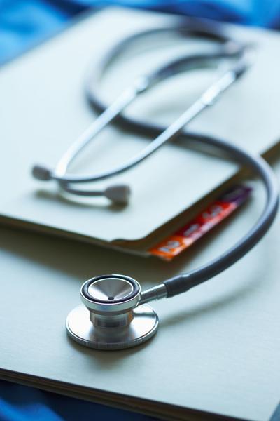 Stethoscope, medical charts