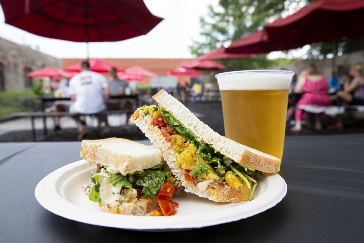 vegan sandwich outside with beer.jpg
